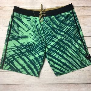 OAKLEY | palm print swim trunks shorts 38
